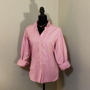 🦄 Lands End button up shirt womens pink size M